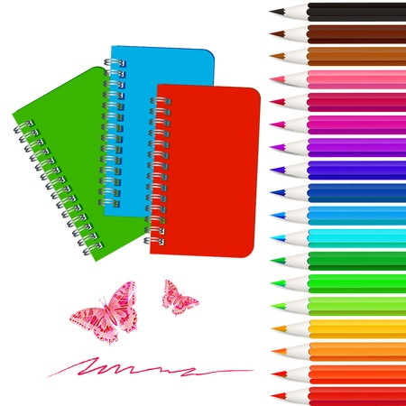 buterfly: Set of colored pencils with notebooks Illustration