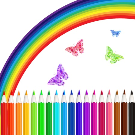 buterfly: Set of colored pencils and rainbow