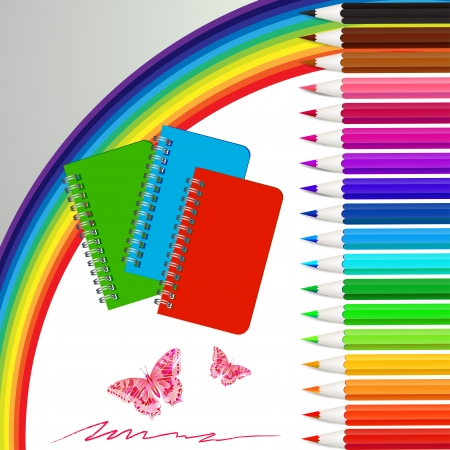 buterfly: Set of colored pencils with notebooks and  rainbow Illustration