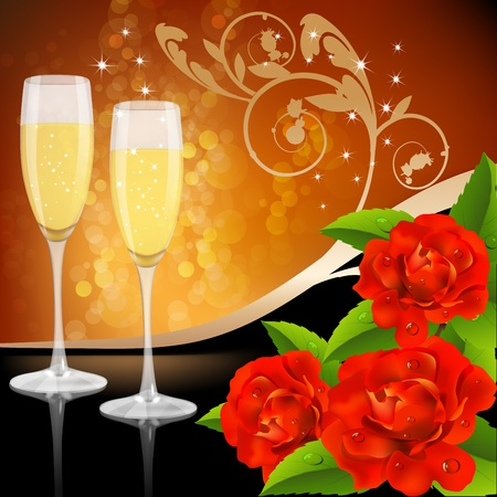 Two glasses of champagne and roses Stock Vector - 19661423