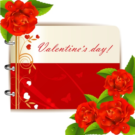 Valentine s day card with red roses Vector