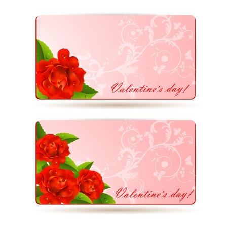 赤いバラのデザインの背景  イラスト・ベクター素材