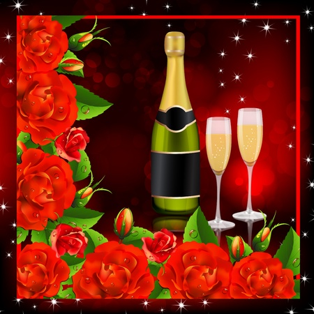 Valentine s  background  Red roses with champagne Stock Vector - 19661426