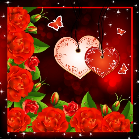 Valentine s background  Red roses with hearts and butterflies Vector