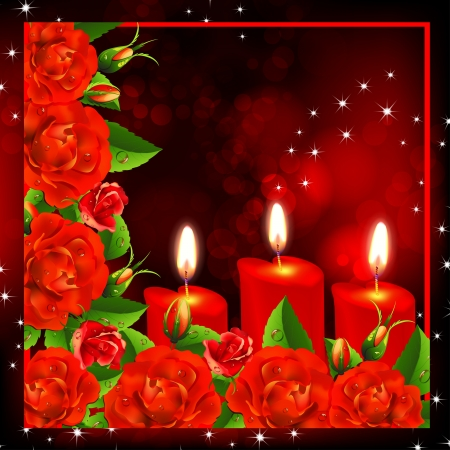 Valentine s  background  Red roses and three heart candles  Vector