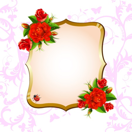 Background with red roses Stock Vector - 20059199