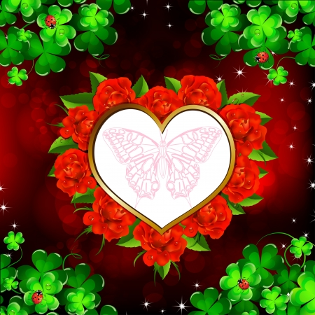 Heart with red roses and butterfly Vector