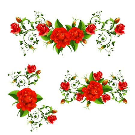Background with red roses 矢量图像