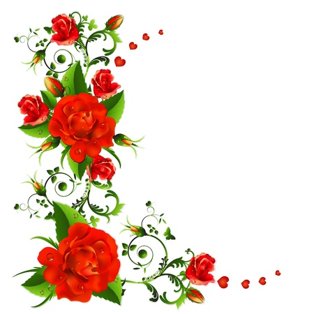 Background with red roses 向量圖像