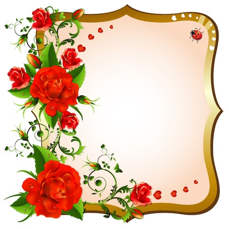 Background with red roses Stock Vector - 20059196