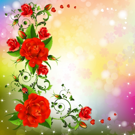 Background with red roses Stock Vector - 20059205