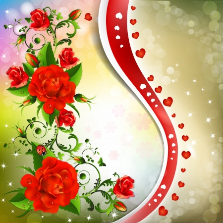 Background with red roses Stock Vector - 20059225