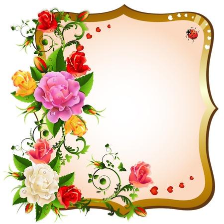 animal frames: Frame with roses Illustration