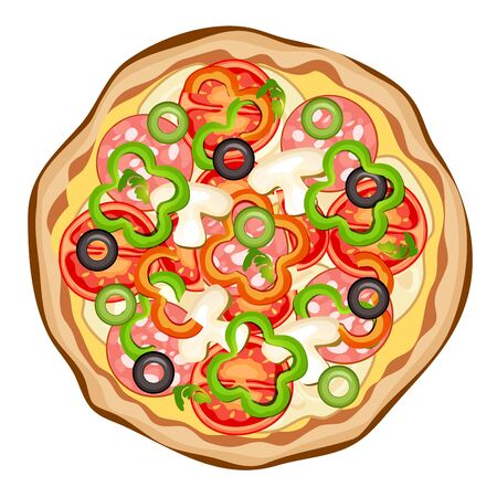 Pizza op een witte achtergrond Vector Illustratie