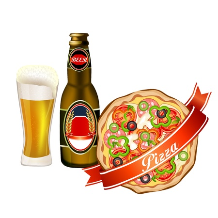 Pizza and beer Stock Vector - 21599737