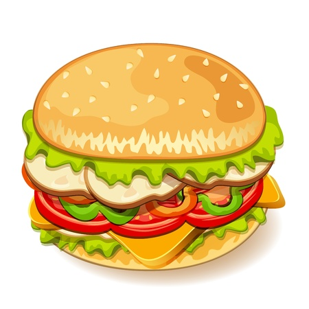 Illustration of yummy sandwich Vector