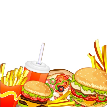 Group of fast food products  矢量图像