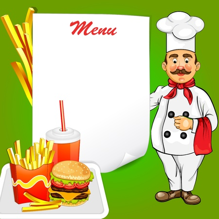 Chef with fast food product Vector