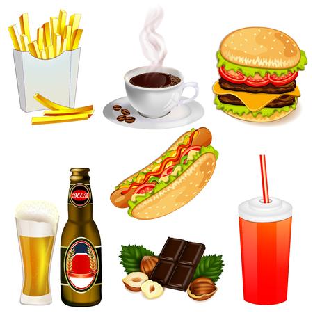 Set of fast food icons Illustration