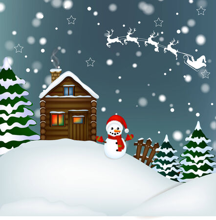 Christmas card with snowman ,Christmas tree and pretty wooden house