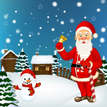 Illustration of Santa Claus and a snowman Vector