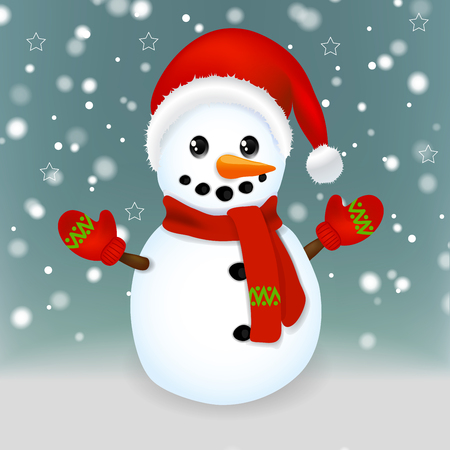 Illustration with Christmas Snowman Vector