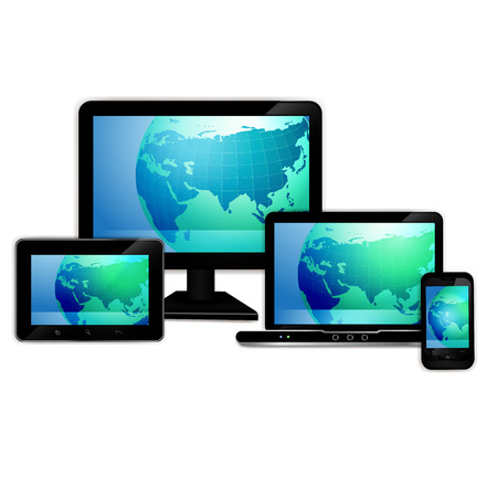 Computer monitor, laptop, tablet , and mobile smart phone with world map 矢量图像