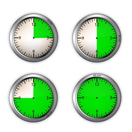 Round clock icons set