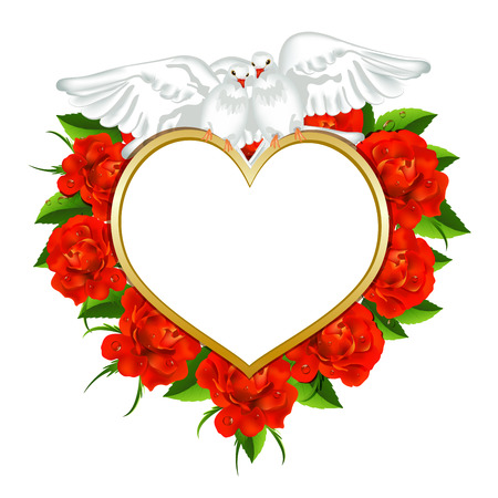 Greeting  valentines card with roses and pigeons Vector
