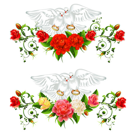 Roses , pigeons and wedding rings Stock Vector - 25307556
