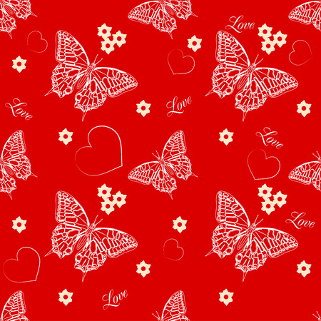 entomology: Seamless pattern with butterflies and hearts