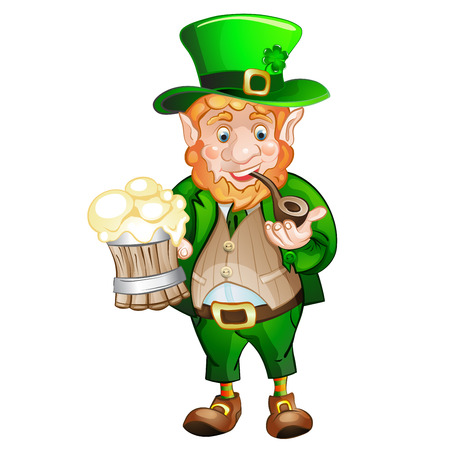 Cute fat Leprechaun with a pot of ale foam   St  Patricks Day Vector