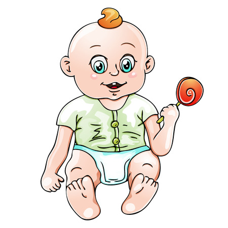 romper suit: Illustration of Cute baby boy Illustration