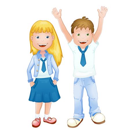 Boy and girl in school uniform Vector