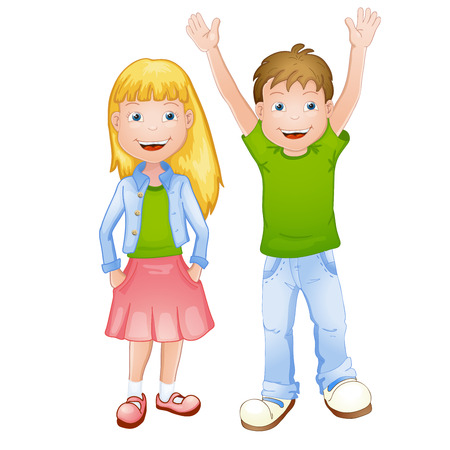 Illustration of a young girl and boy Vector
