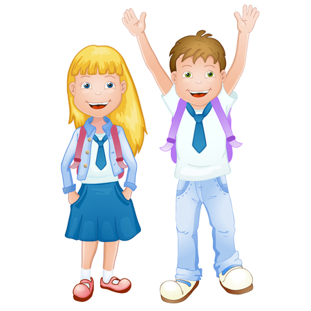 Boy and girl in school uniform Illustration