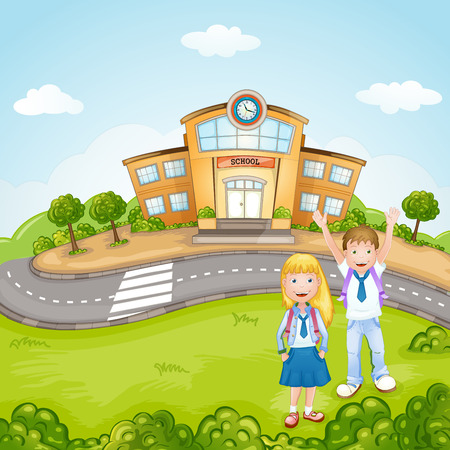 Illustration of a kids in front of school Vector