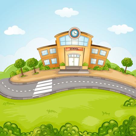 lawn: Illustratie van de school gebouw