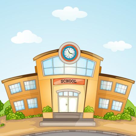 Illustration of School Building  Vector