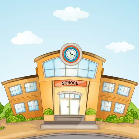 public schools: Illustration of School Building
