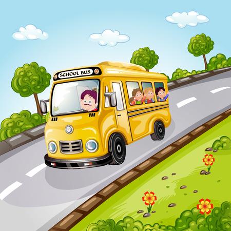 スクールバスの無邪気な子供たちのイラスト