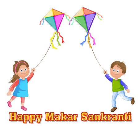Illustration of Makar Sankranti wallpaper with colorful kite Vector