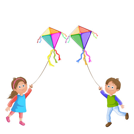 kite flying: Cartoon kids playing with kite