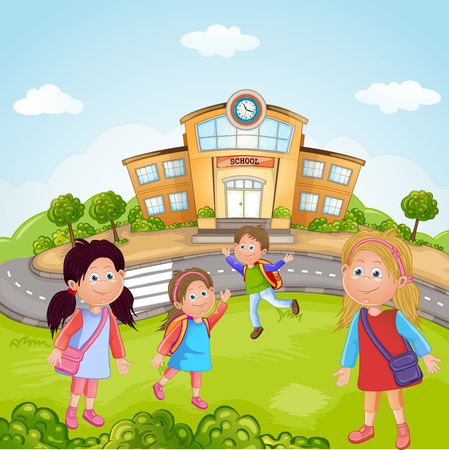 Illustration of a Group of School Children Vector