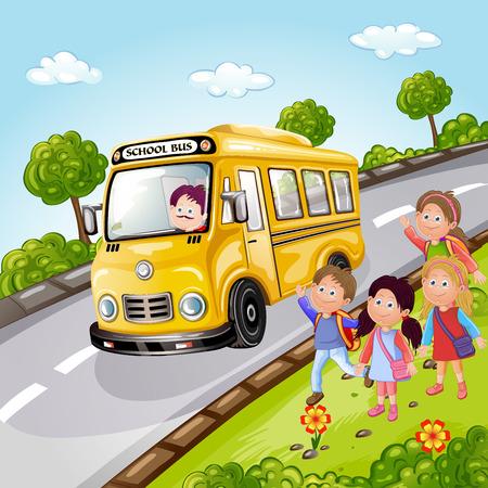 子供と自然のスクールバスのイラスト  イラスト・ベクター素材