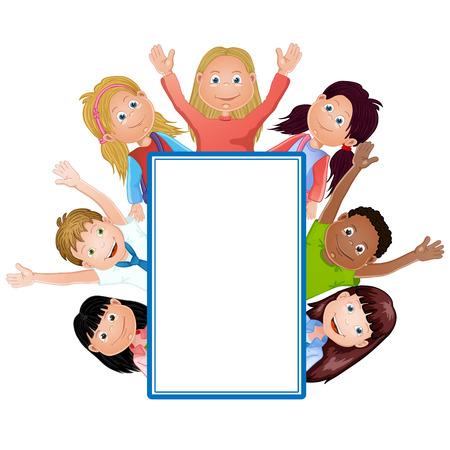 cute cartoon kids frame: Cute cartoon kids frame