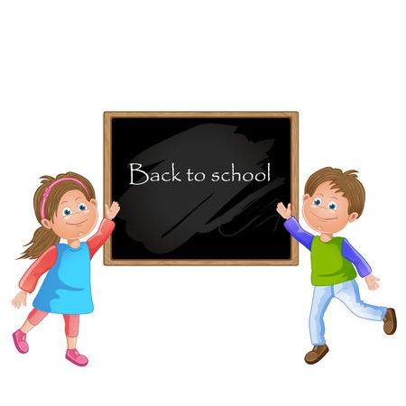 Illustration of children school and blackboard Vector