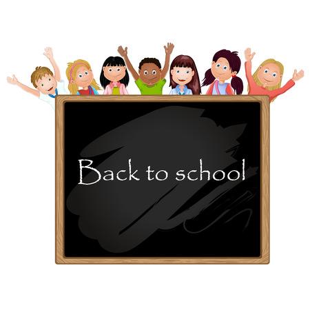 子供の学校および黒板の図  イラスト・ベクター素材