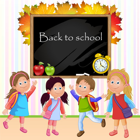 Illustration of children school and blackboard Vector