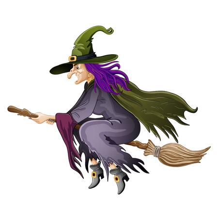 brujas caricatura: Ilustración de la bruja de Halloween volar en escoba Vectores